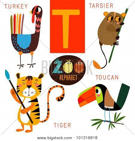 be8dce909 Cute zoo alphabet in vector.T letter. Funny cartoon animals:Turkey  tarsiertigertoucan. Alphabet design in a colorful style. poster. ID:  101316818