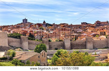 Walls created in 1088 after Christians conquer and take the city from the Moors, Avila Ancient Medieval City Walls Castle Swallows Castile Spain. Avila is described as the most 16th century town in Spain. Walls created in 1088 after Christians conquer and take the city from the Moors