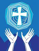 Hände loben und Kreuz in Himmel