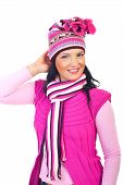 Beautiful Woman In Pink Winter Clothes
