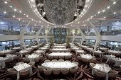 stock photo of cruise ship  - A magnificent open dining room on board a cruise ship - JPG