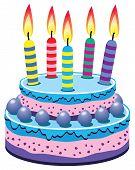 image of birthday-cake  - vector illustration of birthday cake with burning candles - JPG