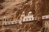 image of jericho  - A section of the monastery located high up in the mountains of Jericho - JPG