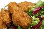 Deep Fried Spring Chicken In Golden Lemon Batter With Salad