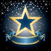 pic of movie theater  - vector big blue star on the starry night - JPG