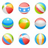 picture of beach-ball  - vector design of the beach ball set - JPG