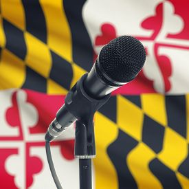 picture of maryland  - Microphone with US states flags on background series  - JPG