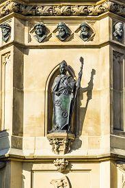 image of frankfurt am main  - The Johannes Gutenberg monument on the southern Rossmarkt (1854 - 1858 by sculptor Eduard Schmidt von der Launitz). Johannes Gutenberg - inventor of book printing. Frankfurt am Main Germany. ** Note: Visible grain at 100%, best at smaller sizes - JPG