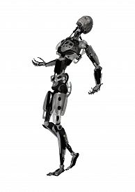 foto of cyborg  - 3D digital render of a male cyborg isolated on white background - JPG