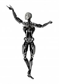 picture of cyborg  - 3D digital render of a male cyborg isolated on white background - JPG