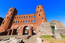 picture of torino  - Roman statue of Julius Caesar and ancient ruins of Palatine Towers in Torino Piemonte Italy - JPG