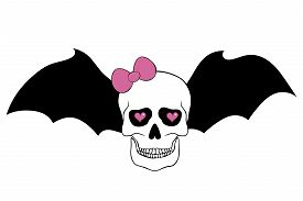 image of eye-sockets  - Skull with pink bow bat wings and hearts in an eye sockets isolated on white background - JPG