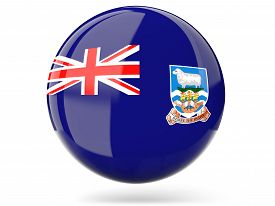 picture of falklands  - Glossy round icon with flag of falkland islands - JPG