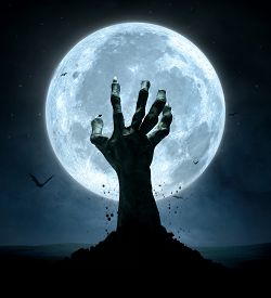 stock photo of corpses  - Halloween concept zombie hand coming out from the grave - JPG
