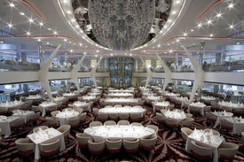 picture of cruise ship  - A magnificent open dining room on board a cruise ship - JPG