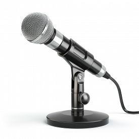 foto of karaoke  - Microphone isolated on white - JPG