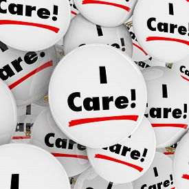 stock photo of compassion  - I Care words on buttons for caring - JPG