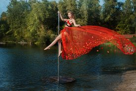 image of lap dancing  - Girl in the red dress dances on a pole - JPG