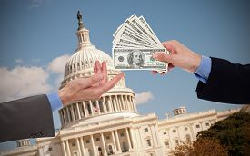 image of politician  - Giving a bribe - JPG