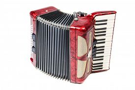 picture of accordion  - Old red accordion isolated ona  white background - JPG