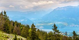 stock photo of annecy  - View of lake Annecy from Semnoz - French Alps ** Note: Visible grain at 100%, best at smaller sizes - JPG