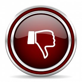 foto of dislike  - dislike red glossy web icon  - JPG