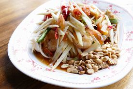 image of cuttlefish  - spicy papaya salad with shrimp cuttlefish and sea mussel - JPG
