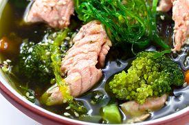 picture of green algae  - soup with salmon and green algae Korean cuisine - JPG