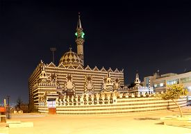 image of amman  - Abu Darweesh Mosque Amman (at night) Jordan. Was built in 1961 by the Circassian community which came to settle in Amman ** Note: Soft Focus at 100%, best at smaller sizes - JPG