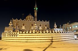 picture of amman  - Abu Darweesh Mosque Amman (at night) Jordan. Was built in 1961 by the Circassian community which came to settle in Amman ** Note: Soft Focus at 100%, best at smaller sizes - JPG