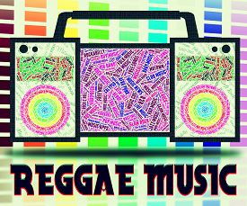 foto of reggae  - Reggae Music Representing Singing Acoustic And Songs - JPG