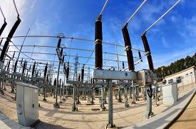 pic of substation  - High voltage switchyard in electrical substation in fisheye perspective - JPG