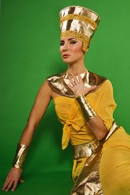 picture of pharaohs  - Portrait of beautiful egyptian woman in costume of the Pharaoh - JPG