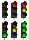 stock photo of traffic light  - Set of different traffic light combinations over white - JPG
