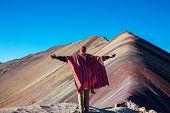Hiking scene in Vinicunca, Cusco Region, Peru. Montana de Siete Colores,  Rainbow Mountain. poster