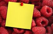 Raspberries And Yellow Note