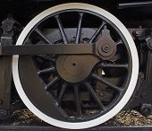 stock photo of train-wheel  - train wheel on old locomotive - JPG