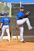 PORT ST. LUCIE, FLORIDA - MARCH 24: New York Mets pitcher Hisanori Takahashi participates in spring