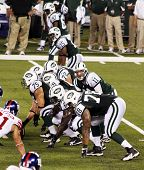 EAST RUTHERFORD, NJ - AUGUST 16: New York Jets Quarterback Kellen Clemens in action against the New