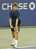 FLUSHING, NY - SEPTEMBER 4: Ryan Harrison (USA) serves during mixed doubles at the US Open Tennis Tournament at Billie Jean King National Tennis Center on September 4, 2010 in Flushing, NY.