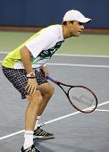 FLUSHING, NY - SEPTEMBER 4: Bob Bryan (USA) waits for serve during mixed doubles at the US Open Tennis Tournament at Billie Jean King National Tennis Center on September 4, 2010 in Flushing, NY.