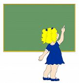 Blank Green Chalkboard With Cute Little Girl