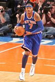 NEW YORK - MARCH 2: New York Knicks point guard Carmelo Anthony (7) dribbles the ball against the Ne