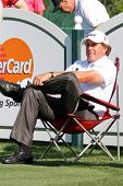 ORLANDO, FL - MARCH 23: Phil Mickelson rests on the tee during a practice round at the Arnold Palmer