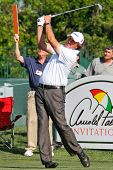 ORLANDO, FL - MARCH 23: Phil Mickelson tees off during a practice round at the Arnold Palmer Invitat