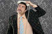 Nerd scared expression businessman telephone call mustache retro