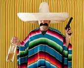 Bandit Mexican revolver mustache drunk tequila bottle sombrero