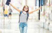 Schoolgirl With Bag, Backpack. Portrait Of Modern Happy Teen School Girl With Bag Backpack Headphone poster
