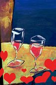 red wine in glasses with hearts