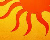 quente sol laranja com textura na parede